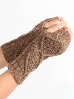 Rhombus Stripe Crochet Knitted Fingerless Gloves - Khaki