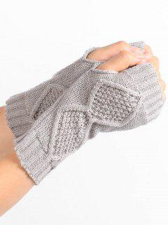 Rhombus Stripe Crochet Knitted Fingerless Gloves - Light Gray