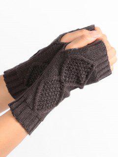 Rhombus Stripe Crochet Knitted Fingerless Gloves - Deep Gray