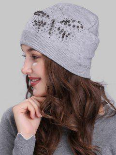 Butterfly Shape Rivet Embellished Knit Beanie - Light Grey