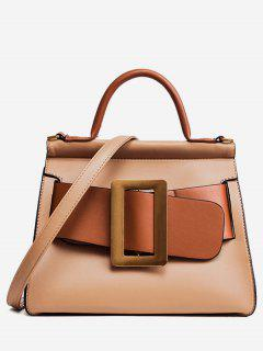 Contrasting Color Buckle Strap Tote Bag - Brown