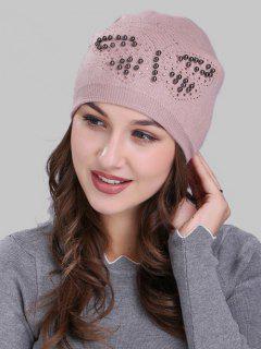 Butterfly Shape Rivet Embellished Knit Beanie - Pink