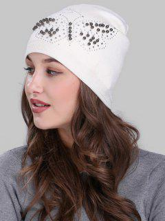 Butterfly Shape Rivet Embellished Knit Beanie - White