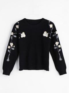 Floral Embroidered Pullover Sweater - Black