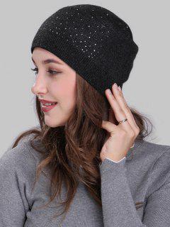 Rhinestone Embellished Crochet Knit Lightweight Beanie - Dark Gray