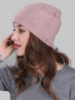 Rhinestone Embellished Crochet Knit Lightweight Beanie - Pink