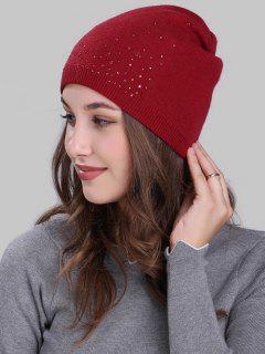 Rhinestone Embellished Crochet Knit Lightweight Beanie - Red
