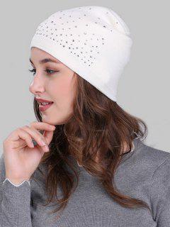 Rhinestone Embellished Crochet Knit Lightweight Beanie - White