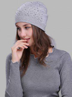Rhinestone Embellished Crochet Knit Lightweight Beanie - Light Grey