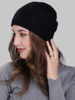 Butterfly Shape Small Rhinestone Embellished Knit Beanie - Black