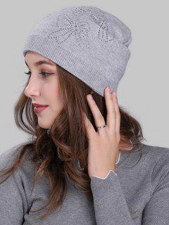 Butterfly Shape Small Rhinestone Embellished Knit Beanie - Light Grey