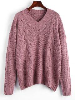 Suéter De Punto Con Cuello En V De Gran Tamaño - Gris Púrpura