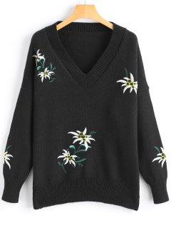 Pullover V Neck Floral Embroidered Sweater - Black