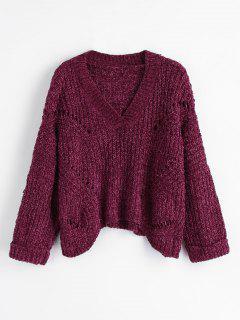 Slouchy V Neck Chunky Sweater - Tutti Frutti