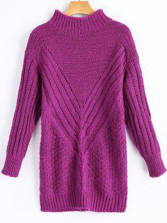 High Neck Hollow Out Longline Sweater - Violet Rose