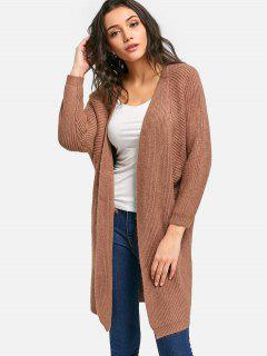 Long Batwing Open Front Cardigan - Light Coffee