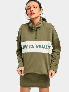 Cut Out Letter Sweatshirt And Skirt Set - Army Green