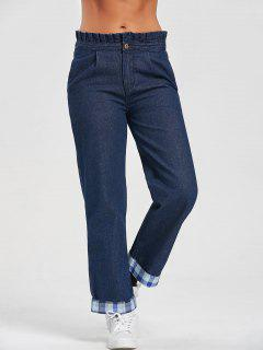Plaid Flounced Wide Leg Jeans - Blue L