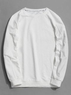 Buchstabe Mit Rundhalsausschnitt Sweatshirt - Weiß Xl