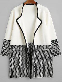 Knitting Zig Zag Open Front Coat - White And Black