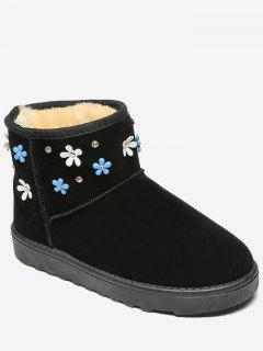 Flower Rhinestone Ankle Snow Boots - Black 40