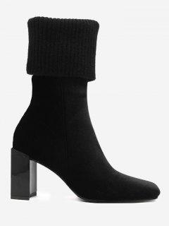 Block Heel Square Toe Fold Over Boots - Black 35