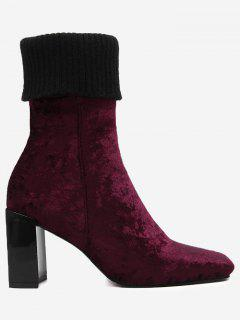 Block Heel Square Toe Fold Over Boots - Wine Red 40