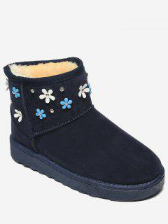 Flower Rhinestone Ankle Snow Boots - Blue 36