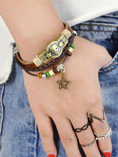 PU Leather Braid Star Skull Charm Bracelet - Brown