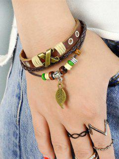 PU Leather Wooden Beads Leaf Charm Bracelet - Brown