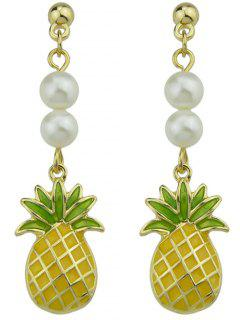 Artificial Pearl Pineapple Earrings - Yellow