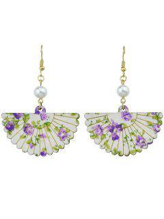 Pendientes De Gancho Con Forma De Abanico De Flores De Perla - Púrpura