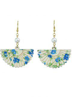 Faux Pearl Flower Fan Shape Hook Earrings - Blue