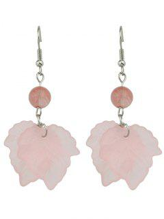 Unique Bead Leaf Hook Earrings - Pink