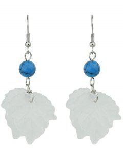 Unique Bead Leaf Hook Earrings - White