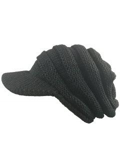 Striped Pattern Ribbed Knit Beanie Hat - Black