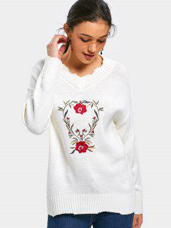 V Neck Floral Patched Sweater - Off-white