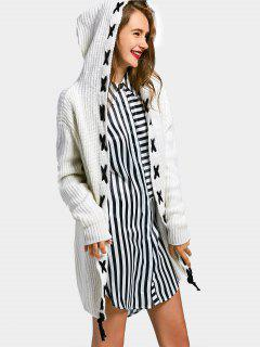 Lace Up Longline Hooded Cardigan - Off-white