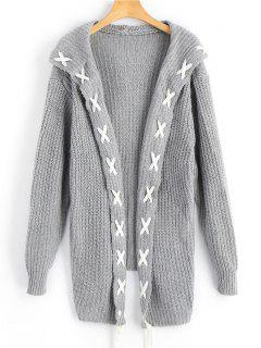 Lace Up Longline Hooded Cardigan - Gray