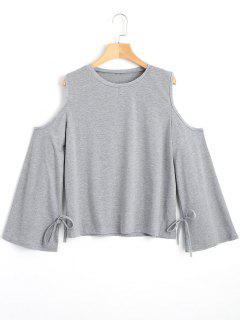 Cold Shoulder Bowknot T-shirt - Gray S