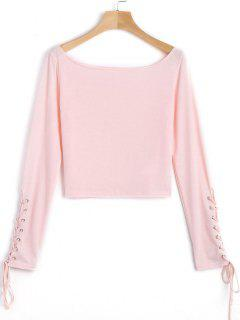 Boat Neck Lace Up Cropped Top - Pink M
