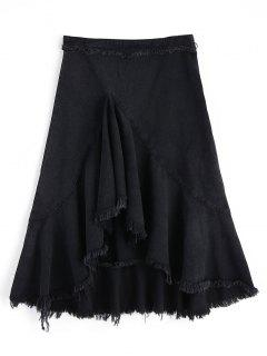 High Low Frayed Hem Denim Skirt - Black M