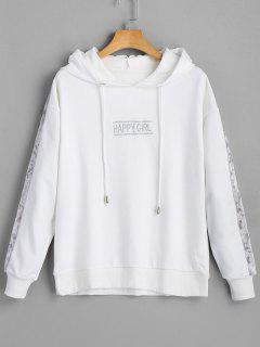 Letter Happy Girl Velvet Panel Hoodie - White