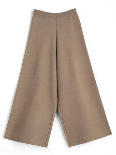 Knitted Wide Leg Pants - Camel