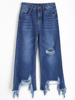 Distressed Wide Leg Jeans - Denim Blue M