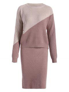 Color Block Sweater With Pencil Skirt - Pale Pinkish Grey