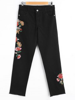 Floral Embridered Frayed Tapered Jeans - Black L