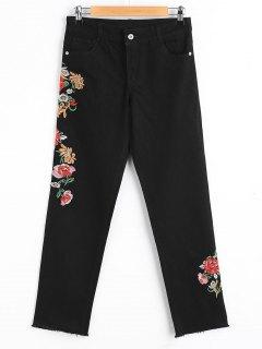 Jeans Cónicos Desgarrados Florales Bordados - Negro M