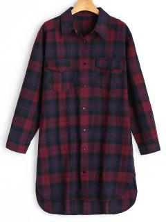 Longline Flanell High Low Kariertes Hemd - Plaid M
