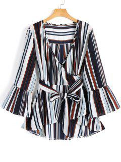 Plunging Neck Flare Sleeve Striped Belted Blouse - Stripe L